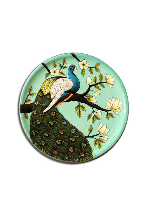 "Trovecraft 8"" Handpainted Pichwai Teal Peacock Décor Plate"