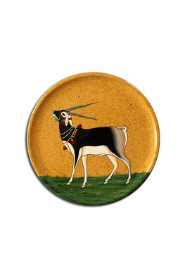 "Trovecraft 8"" Handpainted Pichwai Yellow Blackbuck Décor Plate"