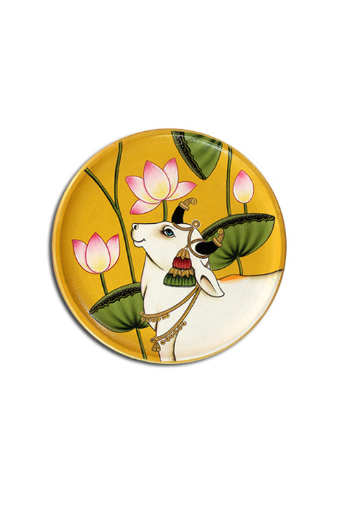 "Trovecraft 8"" Handpainted Pichwai Yellow Half-Cow Décor Plate"
