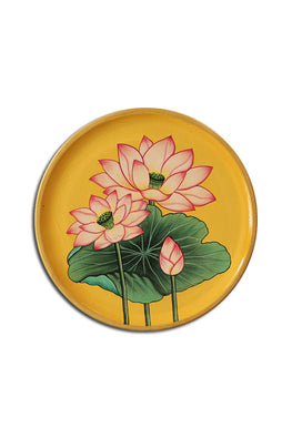 "Trovecraft 8"" Handpainted Pichwai Yellow Lotus Décor Plate"