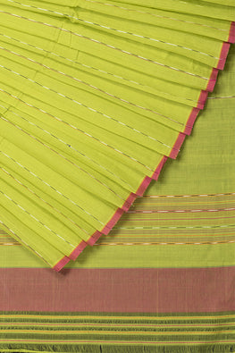 Hank-Art Dobby Cotton Handloom saree  – Parrot Green