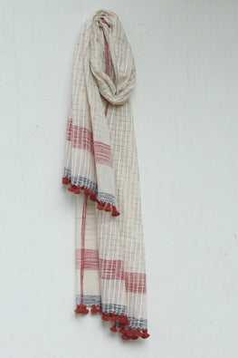 Khadi organic cotton Natural dyed stole-2-shaft weave-style 943