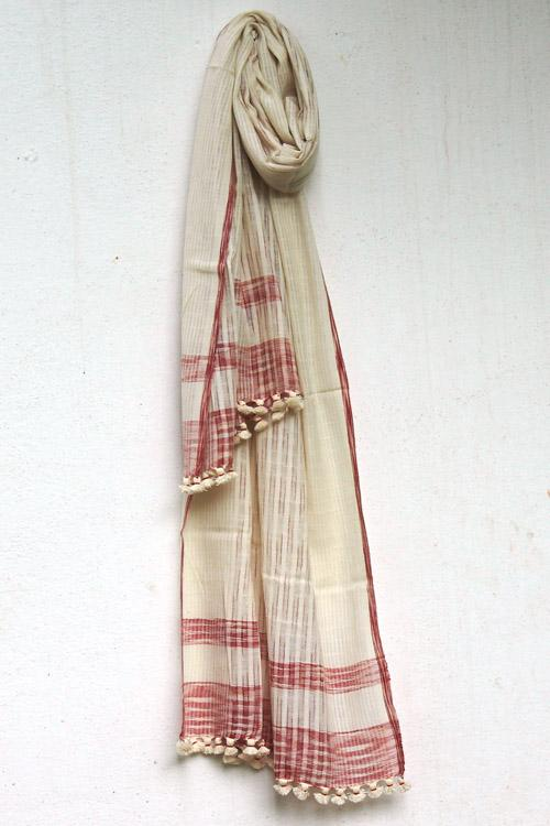 Handwoven Cotton organic cotton Natural dyed stole-2-shaft weave-style 943-1