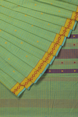 Diamond Dance Cotton Handloom saree – Green