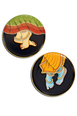 "Trovecraft 9"" Handpainted Pichwai Blue Radha-Krishna Feet Décor Plates - Set of 2"