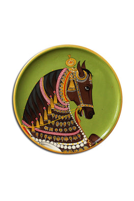 "Trovecraft 9"" Handpainted Pichwai Green Horse Décor Plate"