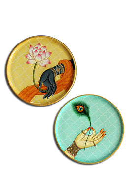 "Trovecraft 9"" Handpainted Pichwai Radha-Krishna Hands Décor Plates - Set of 2"
