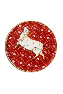"Trovecraft 9"" Handpainted Pichwai Red Prancing Cow Décor Plate"