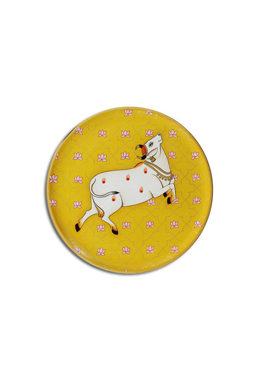 "Trovecraft 9"" Handpainted Pichwai Yellow Prancing Cow Décor Plate"