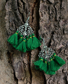 Okhai 'Gypsy' Handmade Green Tassel Earrings