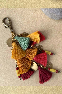 Dhaaga Handcrafts - mustard, Green, red tassels, coins & beads keychain