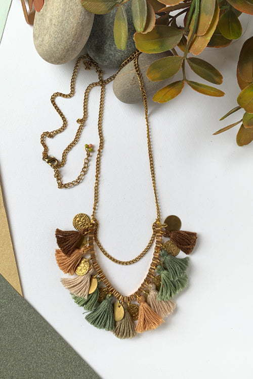Dhaaga Handcrafts - earthy Tassel coin box necklace