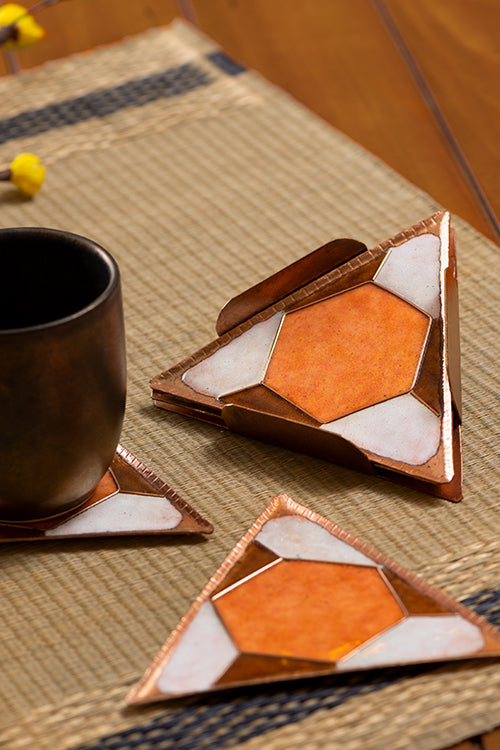 TESSELA COASTER SET OF FOUR-ORANGE