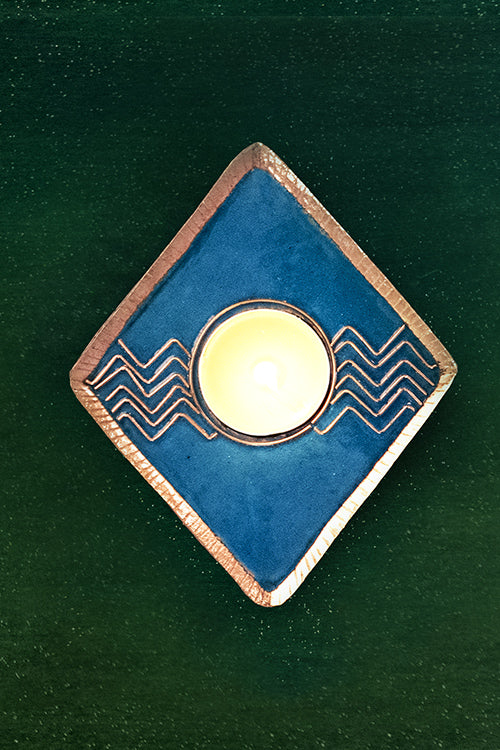 Okhai Chevron Pattern Blue T Light Holder Online