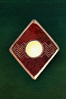 CHEVRON T-LIGHT HOLDER (RED)