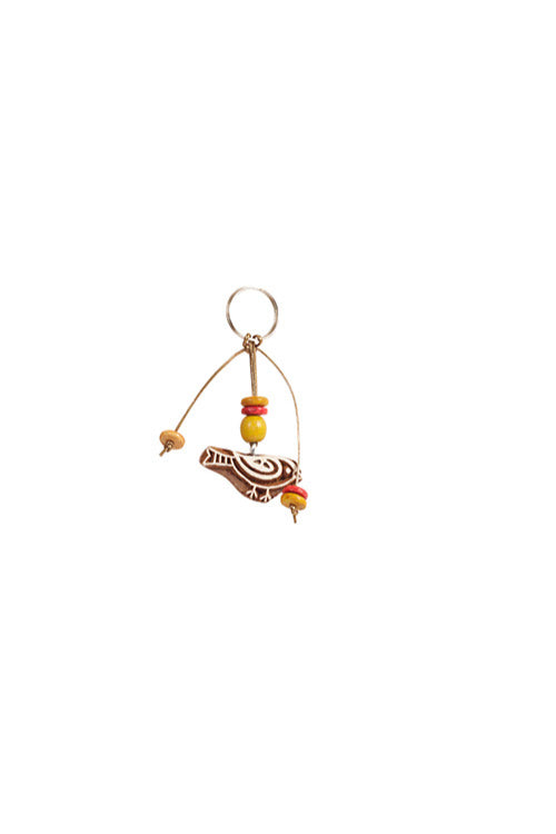 Traditional Wooden Hand Carved Keychain Sparrow