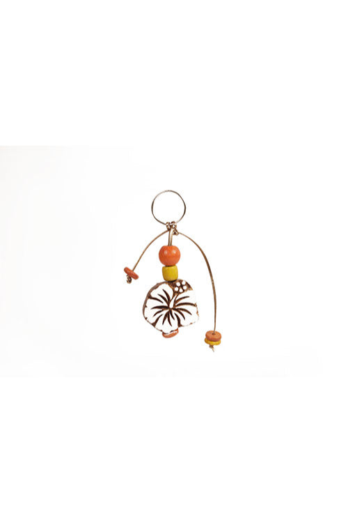 Traditional Wooden Hand Carved Keychain Hibiscus
