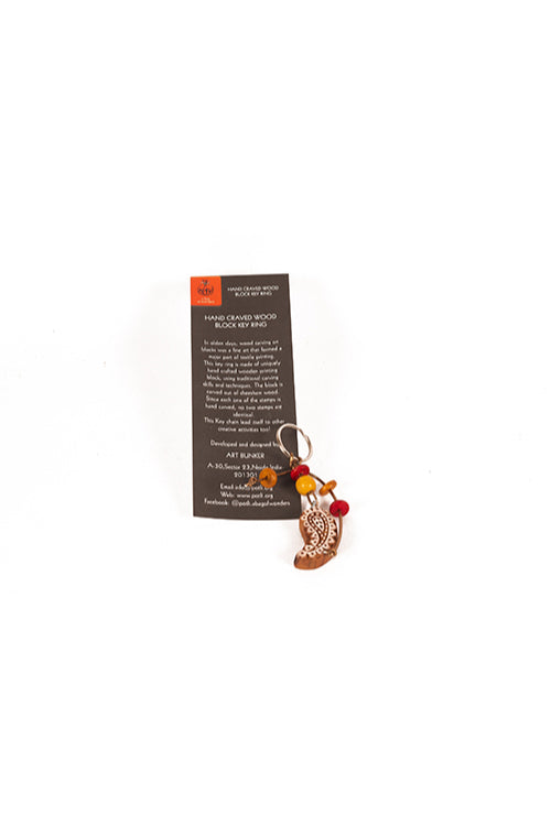 Traditional Wooden Hand Carved Keychain Paisley