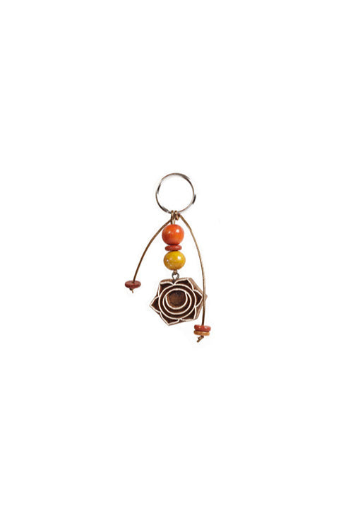 Potli Traditional Wooden Hand Carved Keychain Mandala series Oranges