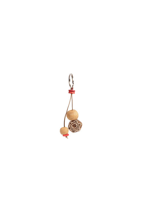 Potli Traditional Wooden Hand Carved Keychain Mandala Natural