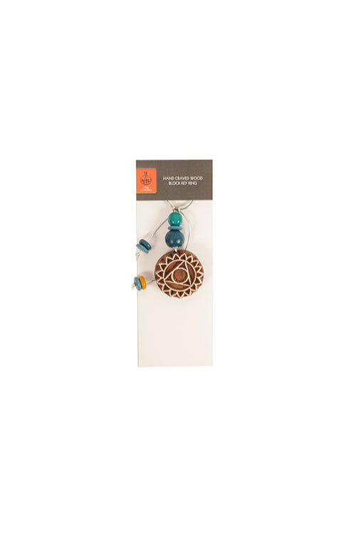 Potli Traditional Wooden Hand Carved Keychain Mandala Blues