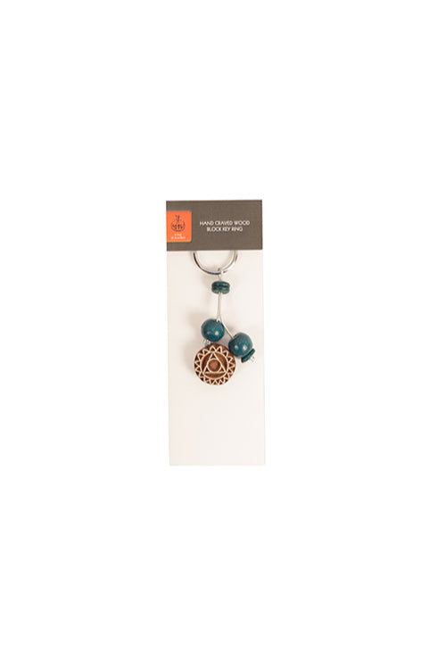 Potli Traditional Wooden Hand Carved Keychain Mandala Blue