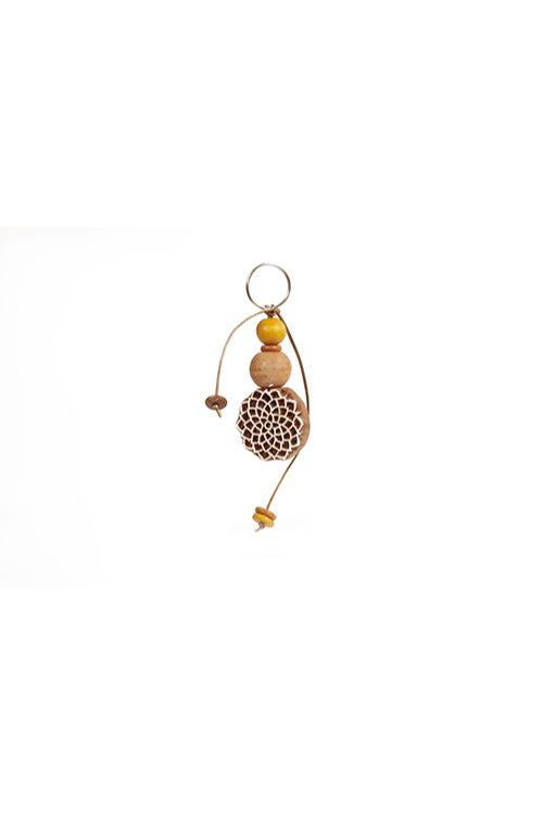 Potli Traditional Wooden Hand Carved Keychain Mandala Rust