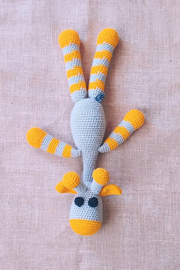 The Color Caravan Hand Crochet Acrylic Wool Yellow Lallu Giraffe Soft Toy Online