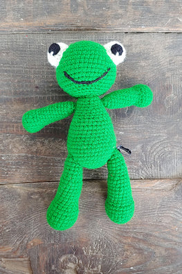 The Color Caravan Hand Crochet Acrylic Wool Rango Frog Soft Toy Online