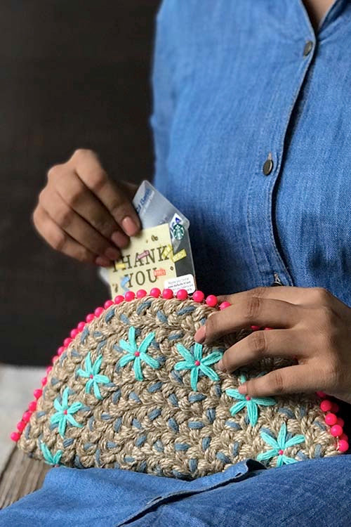 Dhaaga Handcrafts-Grey neon beads half moon clutch
