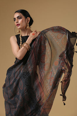 Handblock Printed Kota Cotton Col Grey Ajrakh Saree Online
