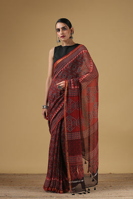 Handblock Printed Kota Cotton Col Red Ajrakh Saree Online