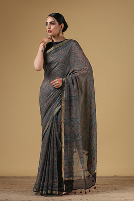 Handblock Printed Kota Cotton Col Grey and Blue Ajrakh Saree Online