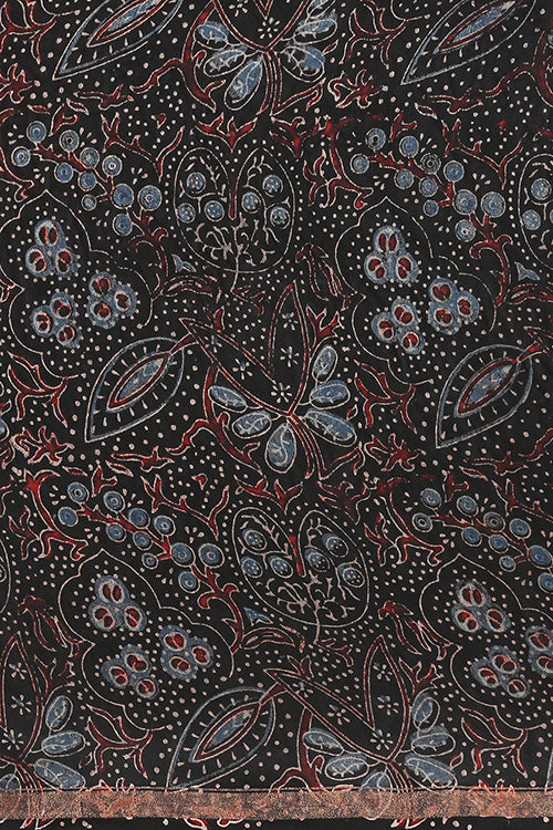 Handloom Printed Ajrakh Chanderi Kangdi Flower Pallav Saree- Col- Black