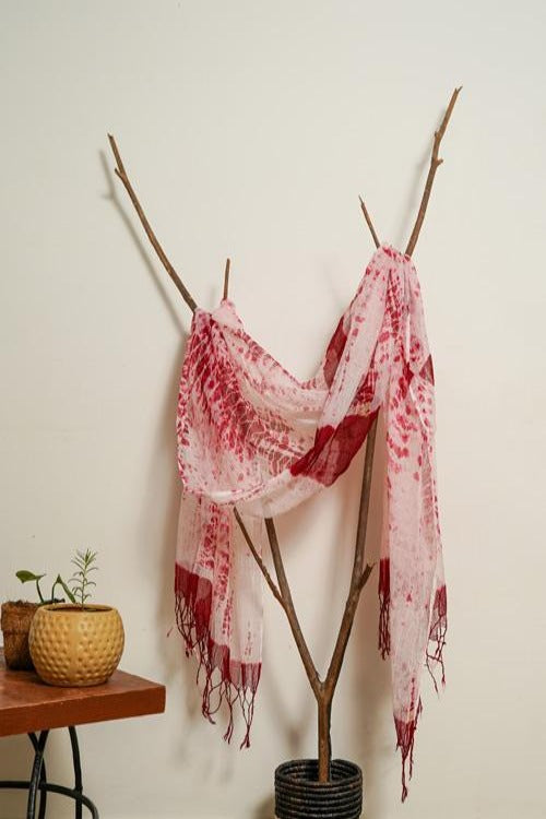 Cherry Red Kota Doria Hand Tie and dye Dupatta