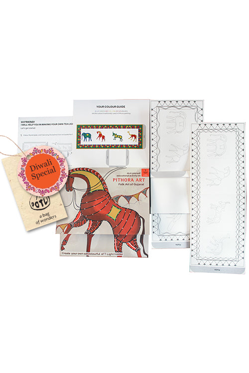 POTLI DIY Educational Craft Kit - T-lite Holder making kit with Pithora Art - 6 years +