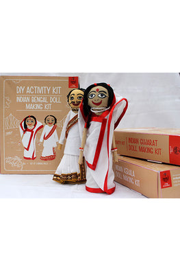 POTLI DIY Educational Toys (10 Years +) Indian Traditional Doll Making Craft Kit (Costumes of West Bengal) Set of 2 dolls