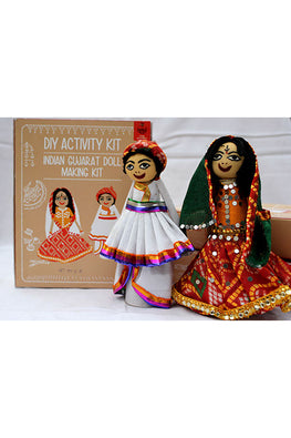 POTLI DIY Educational Toys ( 10 Years +) Indian Traditional Doll Making Craft Kit (Costumes of Gujarat) Set of 2 dolls