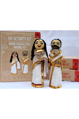 POTLI DIY Educational Toys ( 10 Years +) Indian Traditional Doll Making Craft Kit (Costumes of Kerala) Set of 2 dolls