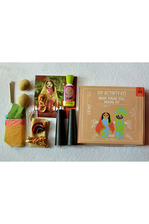 POTLI DIY Educational Toys ( 10 Years +) Indian Traditional Doll Making Craft Kit (Costumes of Punjab) Set of 2 dolls
