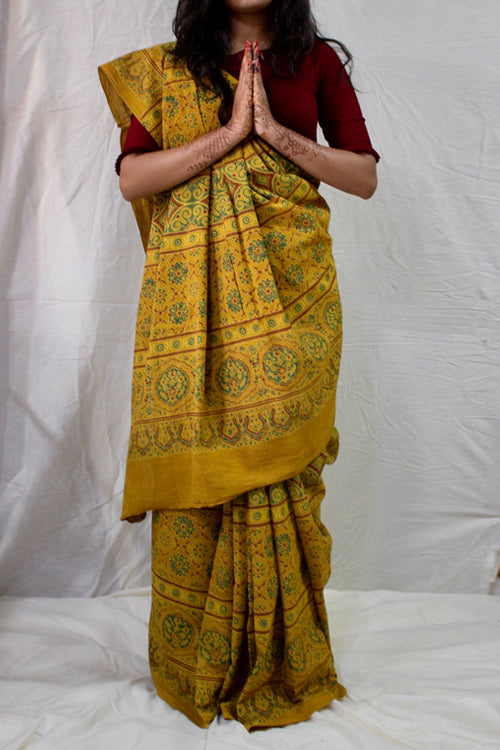 Ashk, Handblock Printed Natural Dyed Cotton Saree Col- Mustard.20