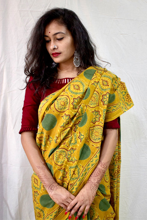 Ashk, Handblock Printed Natural Dyed Cotton Saree Col-Mustard, Grey.9