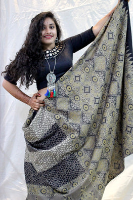 Ashk, Handblock Printed Natural Dyed Cotton Saree Col- Grey 13