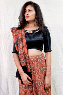 Ashk, Handblock Printed Natural Dyed Cotton Saree Col- Light Rust.15