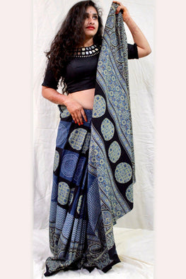Ashk, Handblock Printed Natural Dyed Cotton Saree Col- Blue ,Black.19