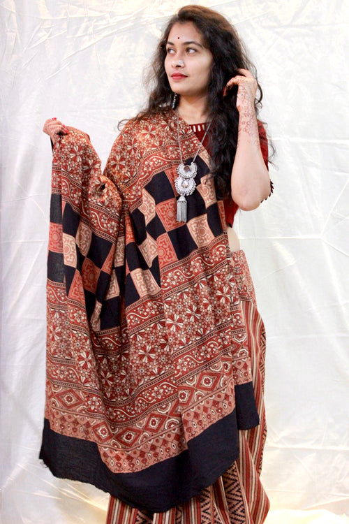 Ashk, Handblock Printed Natural Dyed Modal Saree Col- Brown, Rust.23