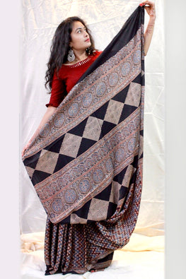 Ashk, Handblock Printed Natural Dyed Modal Saree Col- Grey ,Black.25