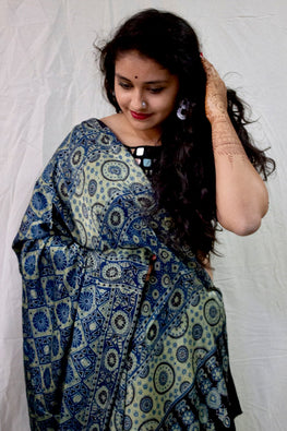 Ashk, Handblock Printed Natural Dyed Modal Saree Col-Blue .28