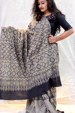 Ashk, Handblock Printed Natural Dyed Modal Saree Col-Smoke Grey.29