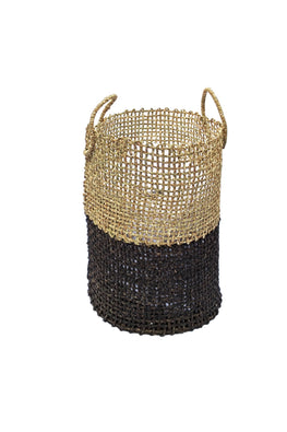 Handmade Sabai Grass Laundry Basket Small (Black)